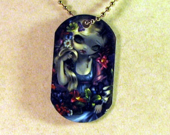 Flora and Fauna Art Dogtag Necklace by Jasmine Becket-Griffith animals flowers fairy