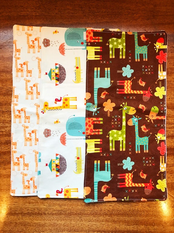 Giraffee Burp Cloths, Baby Burp Cloths, Burp Cloth Set, Boy Burp Cloth Set, Baby Shower Gift, Cotton Burp Cloth