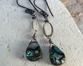ABALONE earrings, Abalone dangle earrings with sterling silver, shell earrings