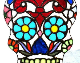 Sugar Skull Stained Glass - Day of the Dead Stained Glass - Skull Glass Art - Skull Suncatcher - Sarah Segovia - Fragile-Beauty
