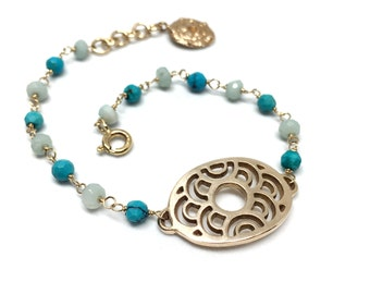 Turquoise and Amazonite Mermaid Bracelet - 14k GF Wire wrapped