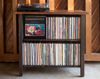 Turntable Stand & LP Storage. Made from Reclaimed Wood.