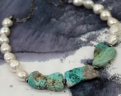 Turquoise Slab and Pearl Necklace