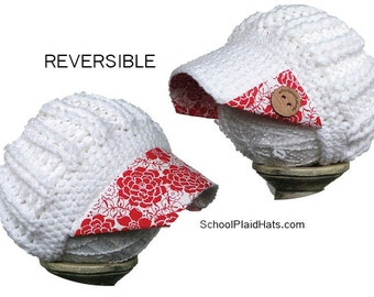 reversible white hat with red large floral fabric brim hat gift for her wholesale hats flower hat holiday gifts cute winter hat