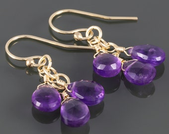 Genuine Amethyst Cluster Earrings. Three Stones. Gold Filled Ear Wires. Natural Gemstones. February Birthstone. f16e171