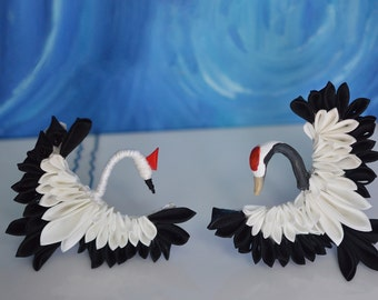 Silk Crane Kanzashi Hair Ornaments. Japanese wedding bird on clip or comb in black and white. Customizable comb.