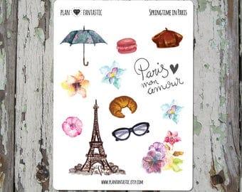 Watercolor Bullet Journal Stickers  - Springtime in Paris Planner Stickers - Travel - deco - bujo