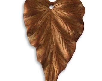 Vintaj Copper Leaf Woodland Leaf Drop Dangle Pendant 38mm 1pc
