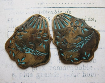Vintage Brass Floral and Bird Pendants in Aged Blue Patina - set of 2