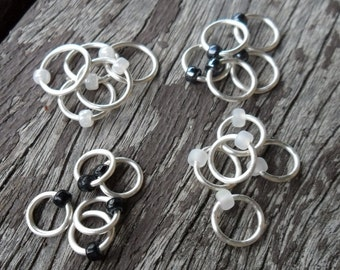 Dangle Free Knitting Stitch Markers Black and White Silver Wire Four Different Sizes Twenty Markers