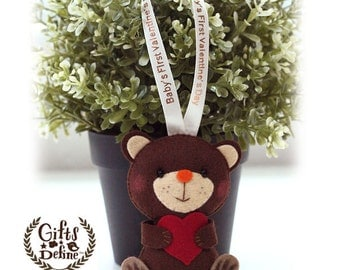 Custom Personalized LOVE BEAR, Family Gift Keepsake, Valentine's Day Gifts, Baby's First Valentine Gifts, Wedding, Party or Nursery Decor