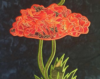 MKCQ - Orange Peony Small - Quilted Wall Hanging