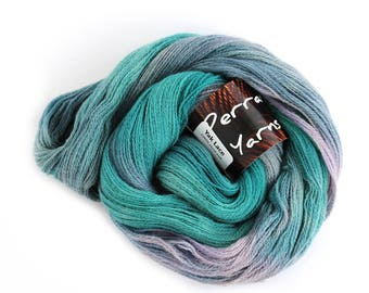 Pure yak handdyed laceweight yarn, 100% yak lace knitting crochet Perran Yarns, Moonscape blue purple variegated yarn skein uk seller