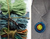 Lapel Flower Knit Kit - green,  green tweed, & variegated