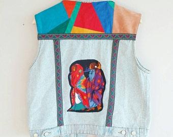 Bohemian Navajo Print Vest 80s~ Native Suede & Denim Vest 1980s~ Vintage Kitsch Hipster~ Large~ Grunge Vest~ Boho Jeans Vest~  Vintage Vest