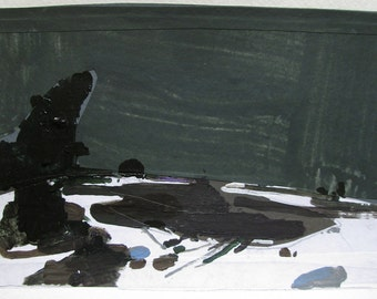 Night Falls, Original Winter Landscape Collage Painting on Paper, Stooshinoff