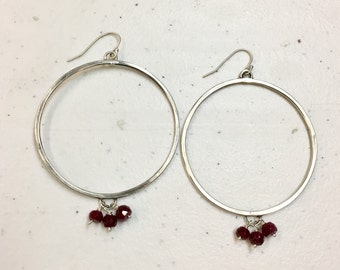 Large Hoops with Rubies