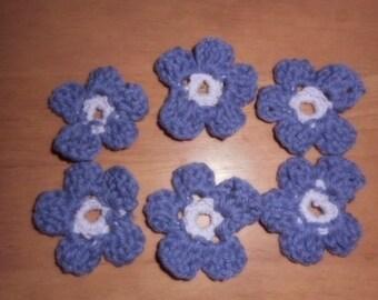 Purple and Lavender Crocheted 5 Petal Flowers