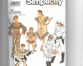 Simplicity Adults' and Boys' and Girls' Lone Ranger, Tonto, Silver and Scout Costumes Pattern 9899