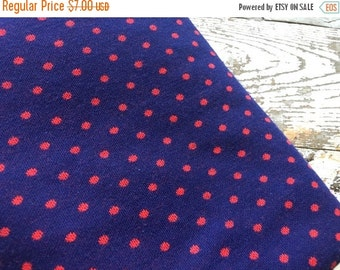 SALE- Vintage Jersey Knit- Polka Dots-Red and Navy