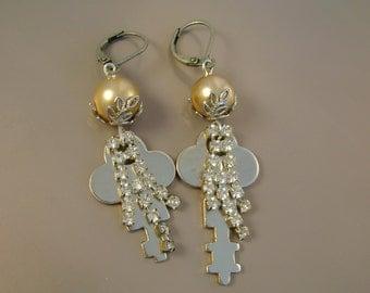 Secrets  - Vintage Silvertone Keys Rhinestdones Vintage Pearls Asymmetrical Recycled Repurposed Jewelry Earrings
