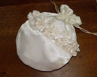 Bridal purse bride's bag reticule romantic victorian candlelight ivory satin