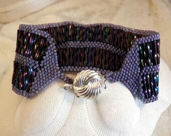 Purple Rainbow Beadwoven Bracelet