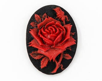 18mm x 25mm Red and Black Rose Cameo #FPA110