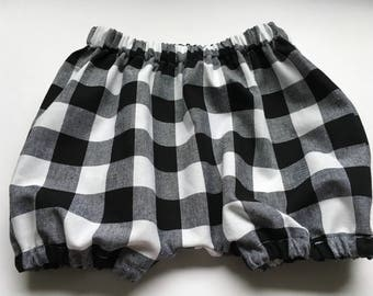 Baby BLOOMERS - Unisex - Buffalo check black + white - sizes 3 months - 3 yrs.