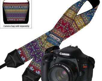 Camera Neck Strap Boho Dslr Camera Strap SLR Padded Camera Strap, Nikon Canon Sony, Digital Turkish Tapestry Kilim Fabric blue red purple