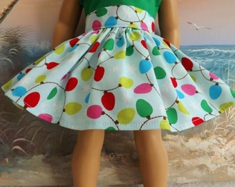 """18"""" Doll Clothes Christmas Holiday Colorful Strung Lights Fully Gathered 50s Style Skirt  will fit AG with Waistband Medley"""