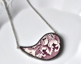Broken China Jewelry Paisley Necklace - Purple Floral