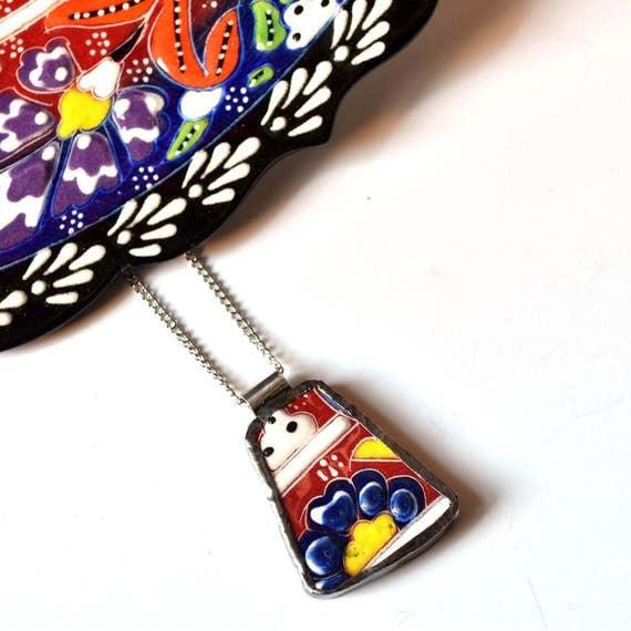 Broken China Jewelry Pendant - Colorful Turkish China