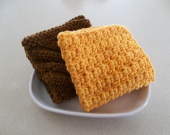 Crocher Dish Cloth - Hand Knit Dish Cloth - Wash Cloths - Gift Idea - Mango -Dark Brown - Set of 2