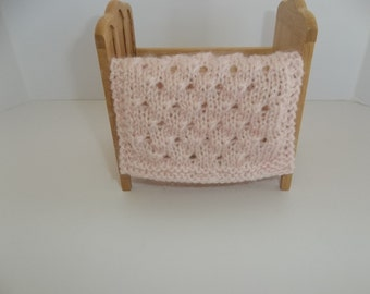 Knit Blanket, Light/Pale Pink Miniature Doll House Blanket/Afghan - One Twelfth Scale