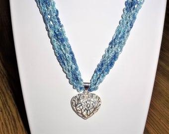 Crochet Necklace, Blue Fiber  Necklace,  Silver Figree Pendant Necklace, Ajustable Necklace,  Womens Accessories