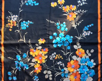 Vintage floral scarf on black 1980s
