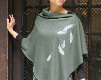 Womens Poncho - Hemp Organic Cotton Jersey Poncho - Womens Shawl - Army Green Poncho - Ladies Screen Printed Poncho - Falling Feathers Shawl