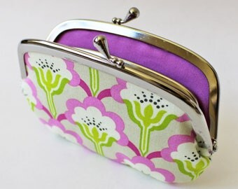 Coin purse wallet - orchid purple flowers kiss lock frame purse change purse lime green floral leaf green purple purse