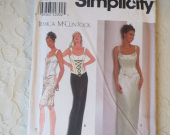 Simplicity 7637 Sewing Pattern Special Occasion Bustier Top & Long Skirt Jessica McClintock Size N 10-12-14 OOP