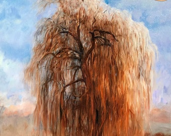 Large Willow Tree Painting 16x20in - Nature Art