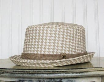 Womens Fedora Hat, Taupe and White Houndstooth - Womens Summer Hat - Womens Hats - M