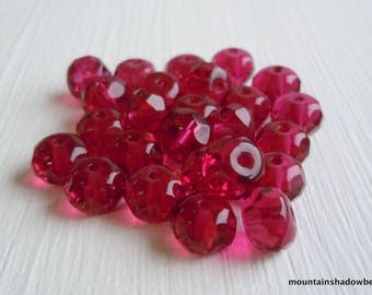 Fuchsia Rondelle, Czech Rondelle beads, Fuchsia Pink Glass Spacers, Faceted Beads. 7mm (G- 337)