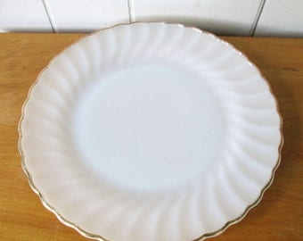 NEW ROOF SALE 1 vintage Fire King milk glass swirl dinner plate