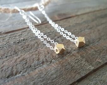 Long Gold and Sterling Silver Dangle Earrings, Modern Edgy Earrings, Mixed Metal Earrings, Everyday Earrings