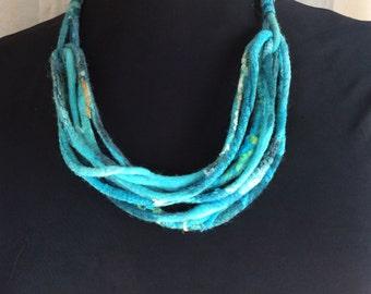 Blue Nuno corded necklace a SugarPlum Original by J. Gauger