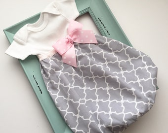 Shabby chic BABY GOWN in pink and grey ...new baby coming home hospital outfit....girls clothing
