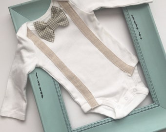Vintage style Suspenders & bow tie onesie or t-shirt--- removable bow tie -- boys clothing-- new baby