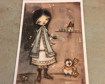 New!  STUDIO DUDA ART mini print/frameable greeting card  on velvety bright paper - The Triumph of Love - 5x7 print