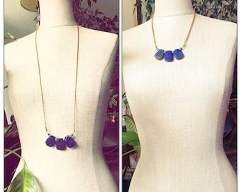 Lapis Lazuli Teardrop Pear shape Pendant Necklace - genuine turquouse beads - blue gemstone pendant necklace - Mothers Day